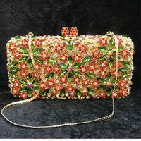 Bridal Wedding Flower Women Colorful Crystal Diamond Clutch Purse Evening Bags Handbags Cocktail Party Bag