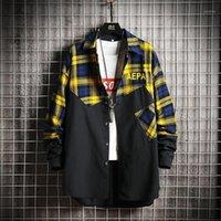 Nouveau Chemise à manches longues à manches longues à manches longues Slim Fit Browned Flannel Shirt 100% coton Harajuku Streetwear Jacekt Shirts Plus Taille1