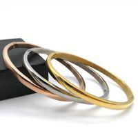 Edelstahl Armreifen für Frauen Einfache Mode Runde offene Armreifen Armbänder Vergoldet Silber Rose Gold Manschette Armreifen Schmuck Liebhaber Geschenk