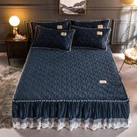 먼지가 많은 핑크 플러시 따뜻한 침대 세트 플란넬 양털 퀼트 ruffled 레이스 소녀 침대가 작은 흰색 공 러시아어 크기 160x200cm