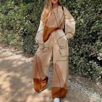 Tute da donna Donne Donne Primavera Autunno Autumn Sweatsuit Set Pullover Felpa Top e Pantaloni Abbigliamento a due pezzi Abiti di moda Moda stampa casual allentati