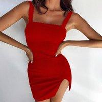 Cysincos Sommerkleid 2021 Riemen Sexy Bodycon Ruhned Kleid Frauen Party Nachtclub Frauen Solide Vestidos Mode Kleidung1