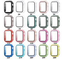 أفضل جودة iwatch pc الصعب القضية مع الزجاج المقسى 38 ملليمتر 42 ملليمتر 40 ملليمتر 44mm ل أبل ووتش غطاء حامي الشاشة