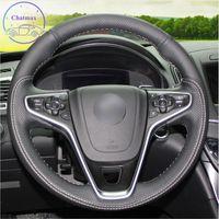 Couvercle de volant de voiture personnalisé de bricolage sur mesure pour Buick Regal Opel Insignia 2014 Couture de la main en cuir de carbone à la main Décoration