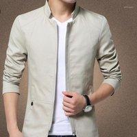 Giacche da uomo 2021autumn Explosions Stand Collar Cotton Wavé Giacca Fashion Trend Trend Colore solido Casual Slim Manica Lunga Benzina a cinque colori Jack