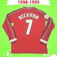 Manchester United jersey Manga longa 1998 1999 Retro MAN Camisa de Futebol 98 99 Camisa de Futebol Clássico Do Vintage unido Beckham Cole Solskjaer Yorke UTD completa manga 2000