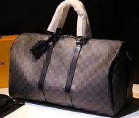 클래식 레인보우 X 모양 대형 여행 가방 베개 더플 가방 수하물 핸드백 진짜 가죽 용량 스포츠 가방 어깨 크로스 바디 가방