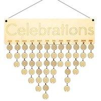 Beste Geschenke für Mütter Hölzerne Familie Geburtstag Erinnerung Kalender Board DIY Jubiläum Tracker Plaque Wandbehang mit Tags RRA4013