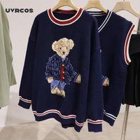 Uvrcos oversize mulheres blusas outono inverno malhas de inverno Pullovers Casual Coreano meninas bonitos urso de pelúcia jaquard camisola v-pescoço em v knitt