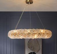 Soggiorno rotondo Lampadario di cristallo moderno lampada da fiore in oro Camera da letto in oro Cristal Lights, Luxury Vestiti Illuminazione del negozio