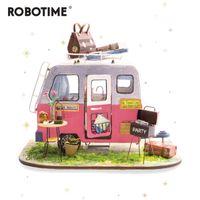 Robotime diy سعيد العربة مع الأثاث الأطفال الكبار مصغرة خشبية دمية البيت نموذج بناء أطقم دمية اللعب DGM04 201215