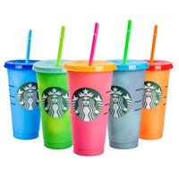 جديد 24 أوقية تغيير لون كوب ماجيك البلاستيك الشرب البهلوانات مع غطاء والحنبة قابلة لإعادة الاستخدام الحلوى الألوان كوب الباردة زجاجة المياه الصيف
