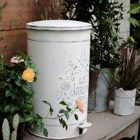 Bac à pédale rétro rustique poubelle Panier Panier Panier Corbeille Vintage