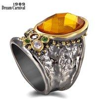 DreamCarnival1989 travesseiro corte zircônia anéis para mulheres largo espesso polegar anel gótico luz marrom jóias datando presente wa11712 y1124