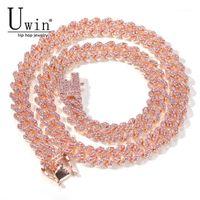 UWIN S-Link Miami Rose Rose Gold 12mm Cuban Link Розовый Горный Хрусталь Ожерелье Цепочка Полный Bling Punk Bling Charm Hiphop Ювелирные Изделия1