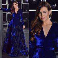 Elegante azul frisado vestidos de noite v pescoço de veludo mangas compridas vestidos de baile vestidos de fiesta uma linha plus tamanho vestido formal
