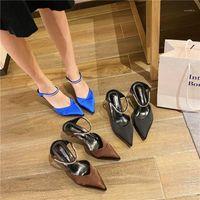 Moda Kadın Sandalet Sivri Burun Mavi Ayakkabı Rhinestone Terlik Saten Slayt Sandalet Kristal Ince Yüksek Topuklu Pompalar Elbise Ayakkabı1