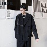 IEFB Мужской осени 2020 Новый Пиджаки персонализированной Асимметричный дизайн Rivet Украшенные черный костюм пальто Минималистской Одежда Сыпучие Y4707