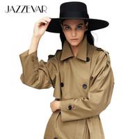 Jazzevar 2020 Nouvelle arrivée Automne Trench Coat Femmes coton lavées Longue Tranchée à double boutonnage Vêtements de haute qualité 9013-1