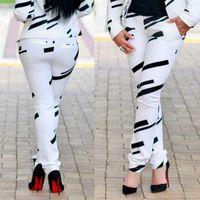 Kadın Moda Siyah Beyaz Çizgili Baskı Omuz Ceket + Pantolon İki - Parça Set Düşük LUV 201106