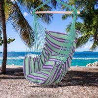 Chaise hamac siège pivotante suspendue corde en toile de coton distinctif avec 2 oreillers pour patio de porche et plus d'espaces extérieurs intérieurs