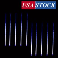 Meteor Shower Rain Lights,Twinkling Romantic Lights for Party, Wedding, Christmas, 20 inch 10 Tubes (Blue)