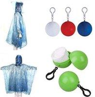 일회용 비옷 플라스틱 볼 열쇠 고리 일회용 비옷 휴대용 구면 케이스 여행 하이킹 캠핑 비옷 OOB3954