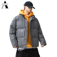 Ajzhy 2020 homens jaquetas de inverno e casacos reflexivo hip hop streetwear aquecido Overcoat Windbreaker Parka Buffer Casal Y1112