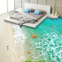 PVC autoadesivo autoadesivo impermeabile 3d pavimento piastrelle di carta da parati adesivo moderno spiaggia onde acqua di mare paesaggio 3D pavimentazione carta da parati roll