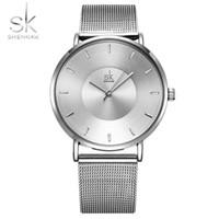 Shengke Мода черный женщин Часы высокого качества ультра тонкий кварцевый аналоговый циферблат Часы женщина Элегантные платья женские часы MONTRE Femme