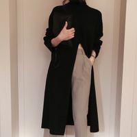 Twotwinstyle Split Split Sweater Black Mulheres Manga Longa Turtleneck Tricotadas Tops Tops Feminino Roupas Coreano 2020 Inverno Novo 201123