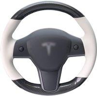 Lenkradabdeckung für TESLA Modell 3 / Modell Y Handstichauto-Radabdeckung kundenspezifisch Kohlefaser-Leder (Kohlefaser + Weiß)