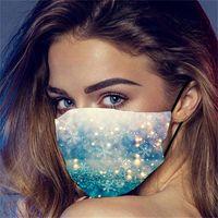 Feliz Año Nuevo Máscara 2021 Año Nuevo Copo de nieve Impresión 3D Navidad Máscaras de la cara a prueba de polvo Las máscaras lavables transpirables para adultos y 7 g2