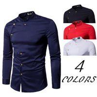 Camisas casuales para hombre para hombre primavera y otoño personalizado personalizado doble botonada camisa de manga larga europea masculina