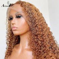 Atina Ombre мед блондинки красочные вьющиеся человеческие волосы парики волосы предварительно сорванные невидимыми REMY HD прозрачная часть кружева парик полное закрытие 250