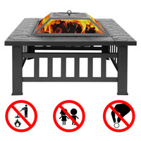 "Outdoor 32"" Metal Firepit Patio Garden Square Stove Fir..."