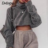 Darlingaga Rahat Örme Katı Balıkçı Yaka Kazak Bahar Sonbahar Kazak Kırpılmış Tops Kadın Tişörtü Hoodies Streetwear