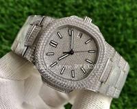 2021 роскошные мужские V3 ETA CAL.32SC Mens водонепроницаемый желтый серебристый полный алмазный браслет Crystal 5711 мужчин 40 мм прозрачные часы