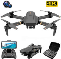 지능형 UAV V4 RC 무인 항공기 4K HD 와이드 앵글 카메라 1080P WiFi FPV 듀얼 쿼드 코터 실시간 전송 헬리콥터 장난감