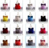 REX 16Colors Pu com Diamond Bow Coelho Imitação Fur Ball Keychain Bolsa de Luxo Pingente 100 pc / lote DHL HYS270