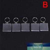 새로운 5pcs 사각형 투명한 빈 아크릴 삽입 사진 그림 프레임 열쇠 고리 키 체인 DIY 분할 링 열쇠 고리 선물