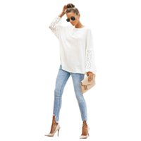 Femmes creuses tshirt O-cou à manches longues blanche vrac t-shirt femelle pull-over