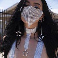 Neuer Bling Strass Mesh-Gesichts-Schleier Maske Schmuck Halloween Kunoichi Maskerade Maske für Frauen Maskerade-Masken-Halskette Schmuck