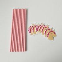 Blu 7 Colori Paglie di carta Rosa Felice Compleanno Bere Bere monouso Unicorno Pantaloni Della Paglia Della Tavola Party Decor AAA683