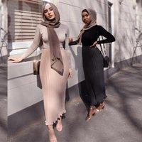 التنانير Siskakia الأزياء الشيفون مطوي تنورة اليورو أمريكا طبقة مزدوجة ماكسي الصلبة الإمبراطورية الطازجة الحلو مسلم الفتيات EID1