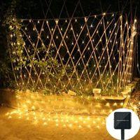 Солнечный рождественский светодиодный сетевой сетчатый светильник 1.1x1.1.1m / 2x3m Waterproom Открытый сад Свадебное окно Занавес Net Fairy String Lights