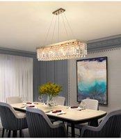 Прямоугольные кристаллические лампы Crystal Chandeleir для столовой Современная роскошная кухонная лампа на лампе Золотой / хромированный домашний декор Освещение