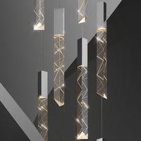 2021 Modern Loft LED Avize K9 Kristal Krom Dubleks Merdiven Oturma Odası Otel Tavan Asılı Işık Lüks Sarkıt Lamba