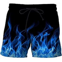 Blue Flame Men Beach Shorts Pantalones Pantalones Fitness Quick Seco Swimwear Street Funny Funny Imprimir Shorts Factory Direct1
