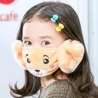 2 em 1 criança desenhos animados urso rosto máscara tampa de pelúcia orelha protetora grossa morna máscaras boca máscaras inverno boca-muffle earflap para crianças jxw751